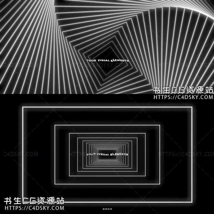 视频素材-69组创意时尚复古黑白图形元素4K高清VJ视频素材