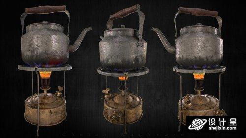 Old Stove And Kettle  茶壶模型 水壶模型  烧水壶模型 炉子烧水壶max+fxb+obj