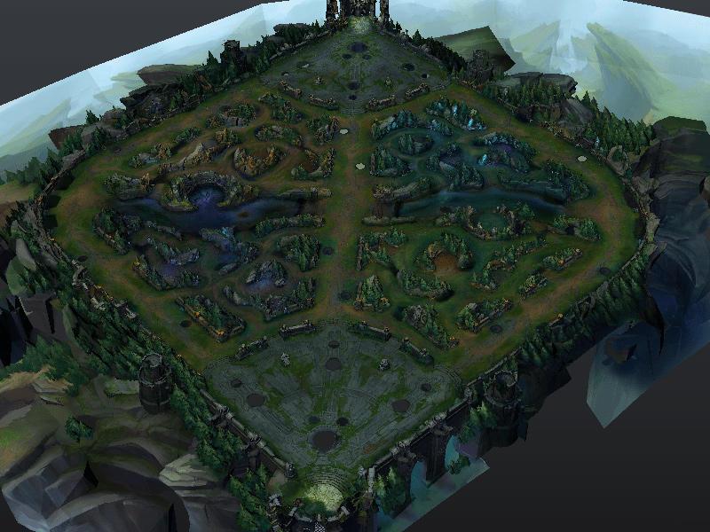王者荣耀 召唤师峡谷地形场景模型 SummonersRift Map 3D模型