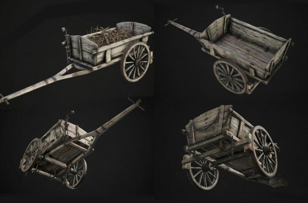 Wooden Cart 木制手推车 木板推车模型 木轮推车模型 木轮车模型