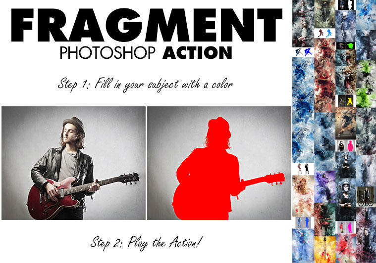 GR- Fragment Photoshop Action-16478047 多边形破碎效果ps动作