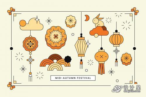 Beige Chinese Mid Autumn festival background vector - 1200984 米色中秋佳节背景矢量图