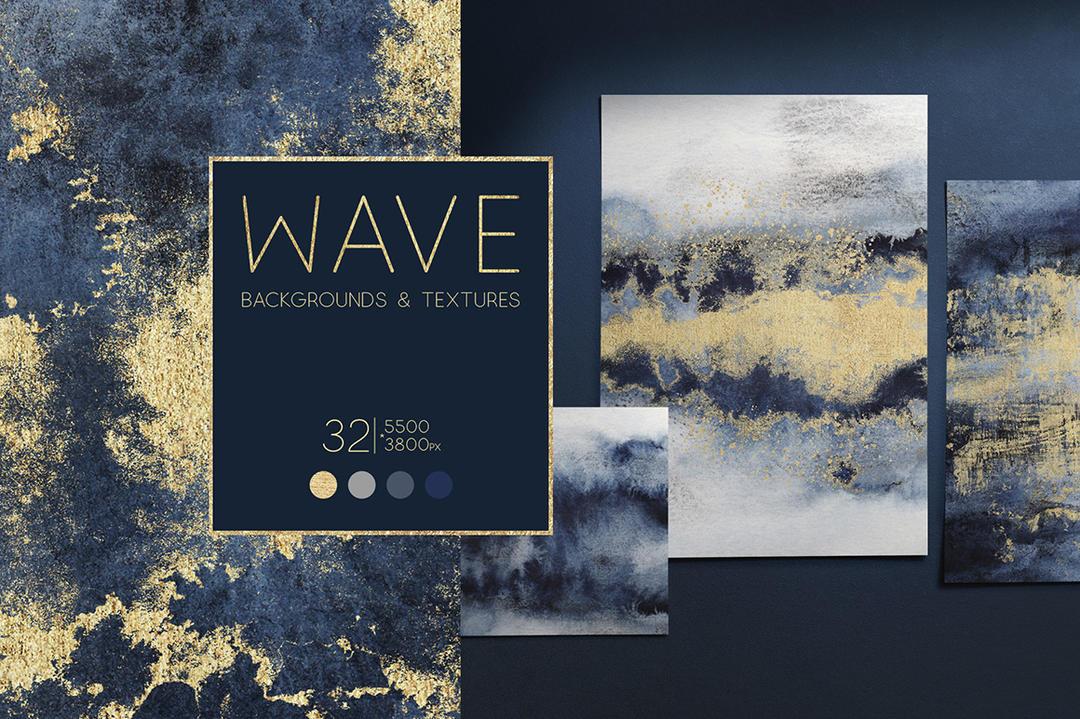WAVE Blue Gold Backgrounds 4414071 蓝色和金色纹理背景 金色斑点纹理元素背景