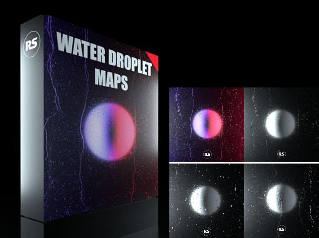 Water Droplet Renders Maps 雨天玻璃水滴纹理贴图 雨天水滴贴图