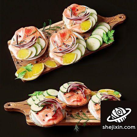 Chopping board meat and fruit combination 三文鱼水果蔬菜模型  菜板肉类水果组合模型 厨房案板