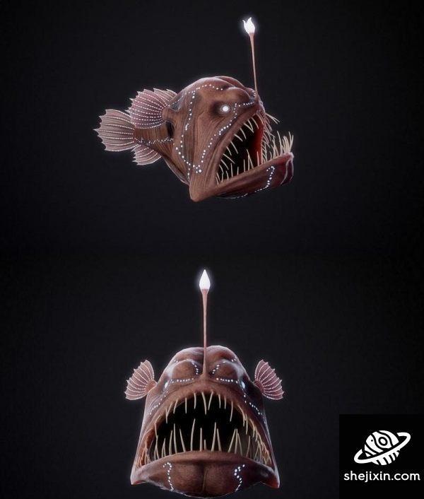 Angler Fish PBR 垂钓鱼 鮟鱇鱼 灯笼鱼 深海鮟鱇鱼