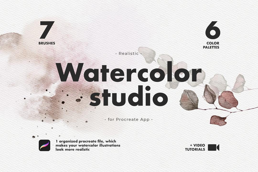 Realistic Procreate Watercolor Kit 4696269 水彩人像植物绘画插画笔刷