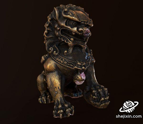 Foo Dog Ornament PBR 石狮子 门头狮子雕塑 中国传统雕像狮子模型 雄狮石像max+fbx+obj