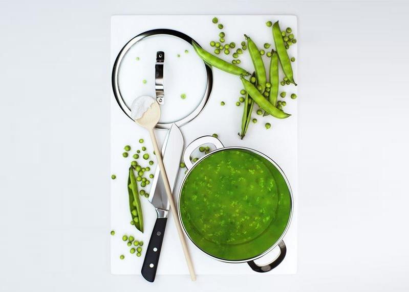 Kitchen accessories set 02 金属不锈钢锅豌豆汤 菜刀 木勺 新鲜豌豆 现代厨房室内场景元素 厨房用具 厨具模型