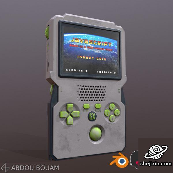 Hand held console PBR 掌上游戏机 俄罗斯方块游戏机模型