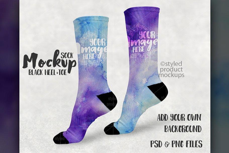 Sublimation Sock Mockup 1745372 袜子样机模版 长筒袜样机