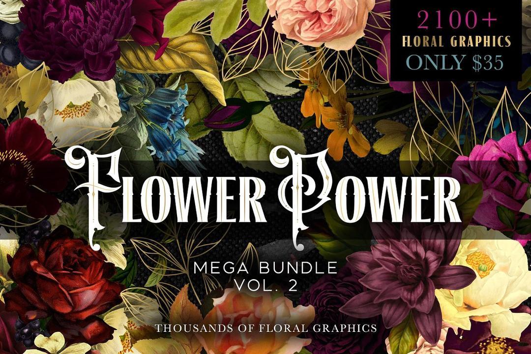 Flower Power Mega Bundle Vol 2 花卉背景素材合集