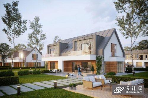 Exterior House Scene By VuPhucHung 小区别墅公寓模型 高端社区公寓模型 别墅模型 别墅室外模型max