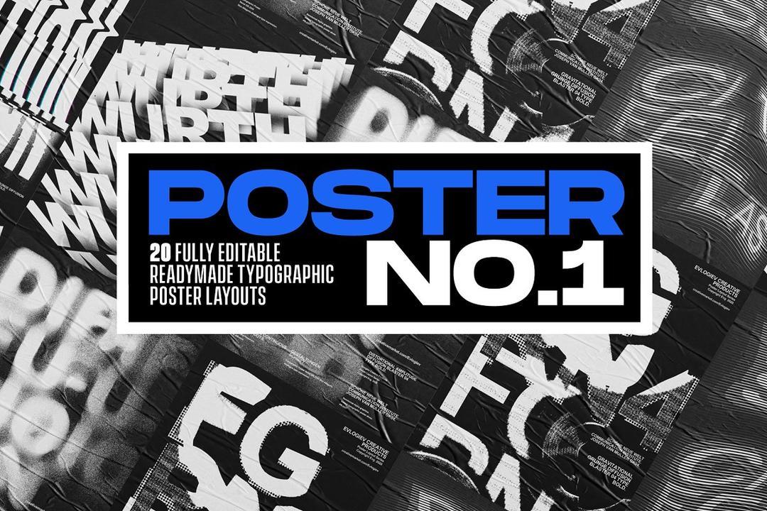 Typographic Poster Layouts No.01 4901139 20张扭曲抽象海报模版 艺术海报智能对象模版
