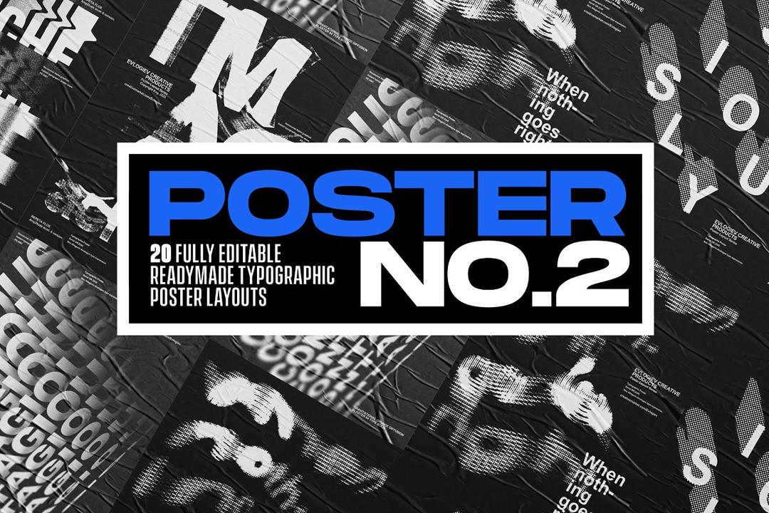Typographic Poster Layouts No.02 4901329  20张扭曲抽象海报模版 艺术海报智能对象模版
