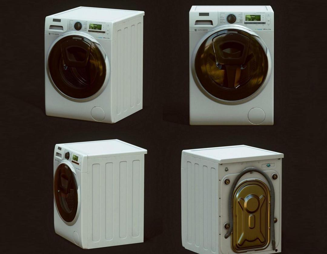 洗衣机 滚筒洗衣机模型Washing mashine PBR