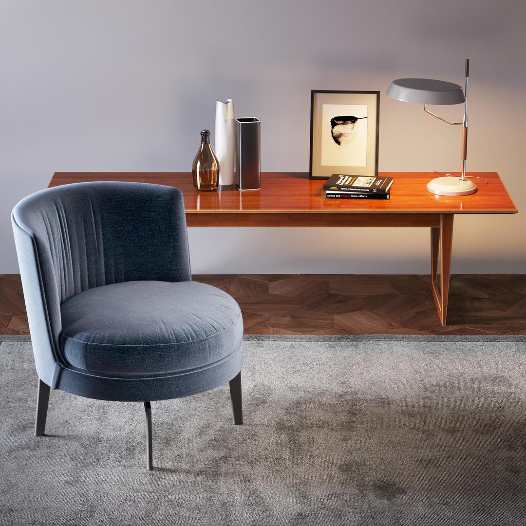 Dekor set # 2 3D Model 书桌装饰模型 书房座椅模型