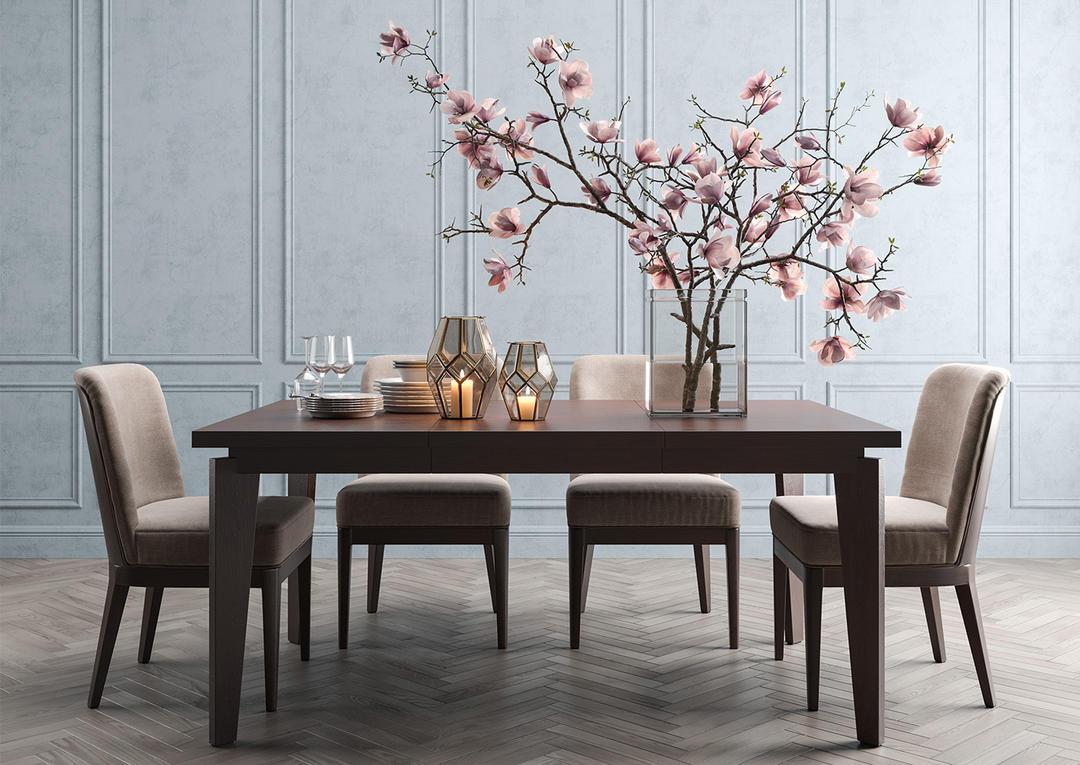 Angled-leg Expandable Table 玉兰花餐桌模型 玉兰花花瓶 玉兰花卉装饰 餐厅场景模型 玉兰花餐桌装饰 餐桌模型 室内餐桌模型