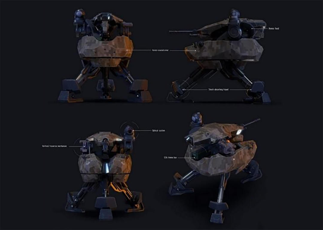MADS 249 automatic turret PBR自动防御机枪碉堡 防御工事  碉堡机枪火力点 炮塔机枪 防御炮塔 塔防游戏模型  游戏防御工事模型