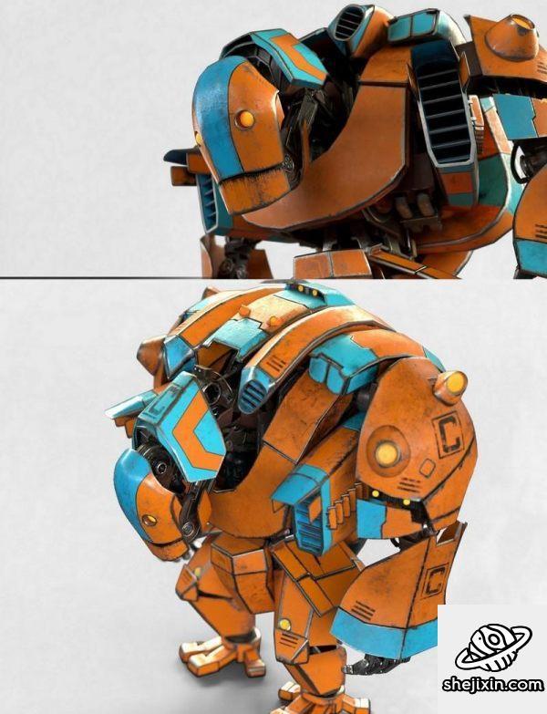 Cartoon Mech PBR萌系机器人 卡通机甲 卡通机器人 机器人电影角色模型 可爱萌宠机器人 憨憨的机器人 胖胖机器人 驼背机器人