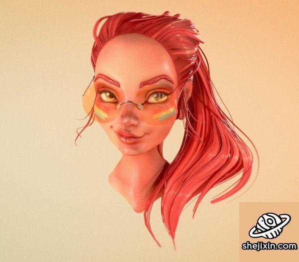 Loish Portrait - ART PBR 玻利维亚女郎头像模型 时尚女孩模型 红发女郎模型 游戏女孩角色模型