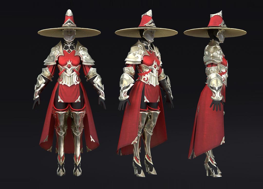 Armor Set PBR 红衣侠女 红衣领主模型 女武将 杨门女将 教主模型
