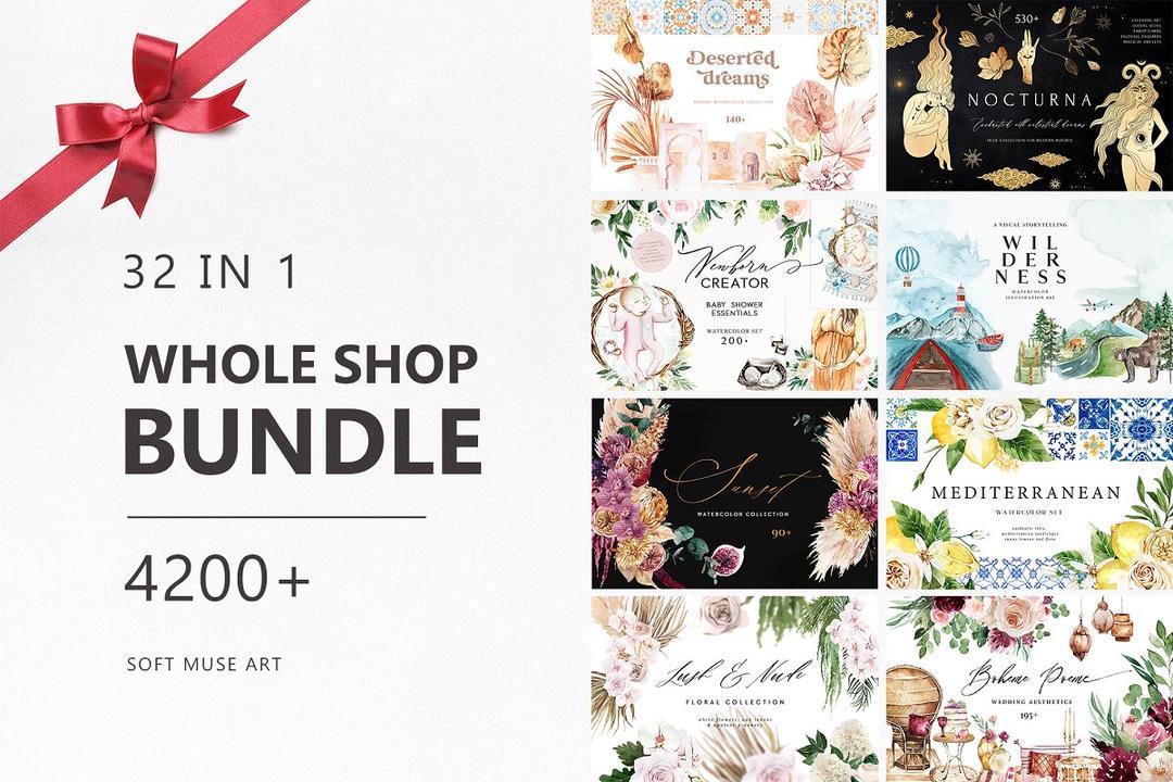 WHOLE SHOP Bundle 4200+ items 4425197 By Soft Muse Art 艺术插画png素材包