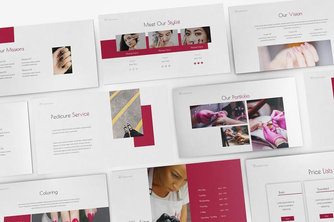 Nail Salon Powerpoint,Keynote and Google Slides Template 美容美甲行业PPT模版