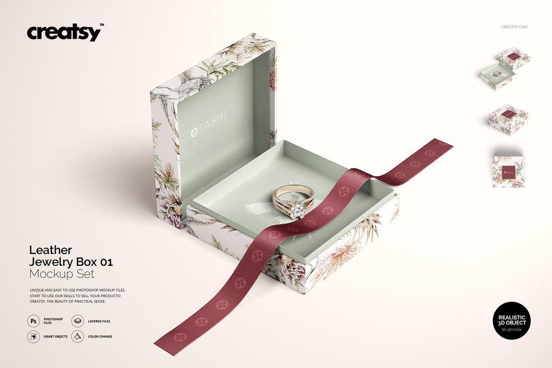 Jewelry Box Mockup Set 01 4392039 珠宝首饰 戒指包装盒样机
