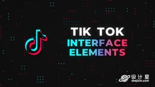 TikTok抖音短视频介绍媒体平台关注界面动画效果制作 AE+PR+MOGR模板Tik Tok Interface Elements