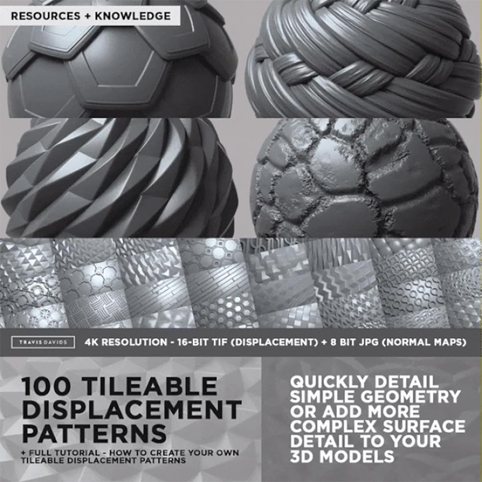 100张可平铺4K无缝纹理/Alpha图案Gumroad COMPLETE PACK 100 Tileable Displacement/Alpha Patte