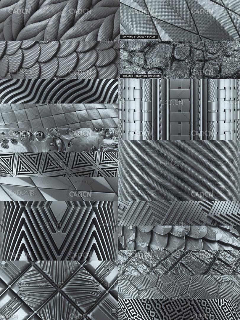 255组深度置换纹理贴图材质 255 Tileable Displacement/Alpha Patterns,贴图素材