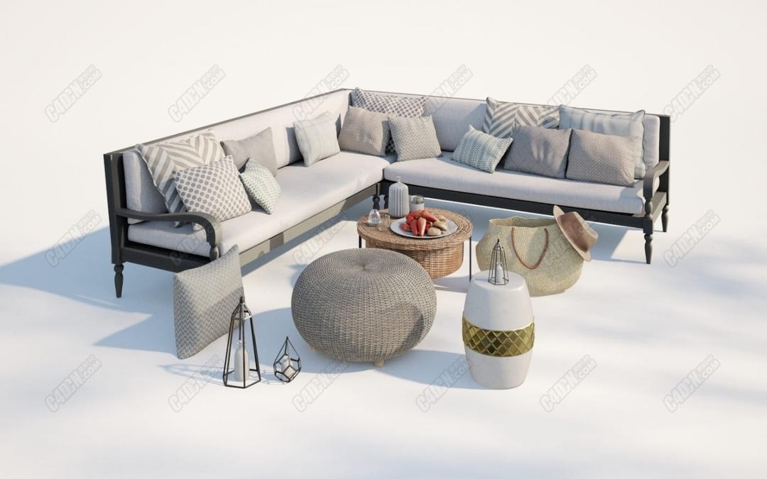 C4D拐角沙发布艺抱枕水果拼盘帽子挎包模型_C4D模型