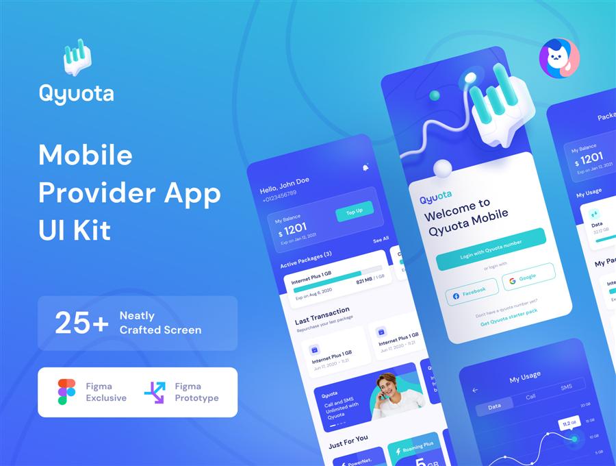 Qyuota Mobile Provider App UI Kit 电信业务APP UI  电信运营商 话费充值APP UI模版