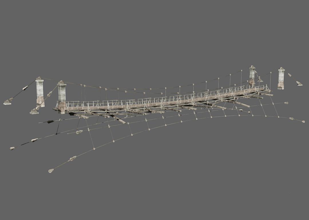 悬崖绳索木桥模型 吊桥模型 缆绳索桥模型 钢丝桥 悬崖缆绳索桥模型 max+fbx+blend
