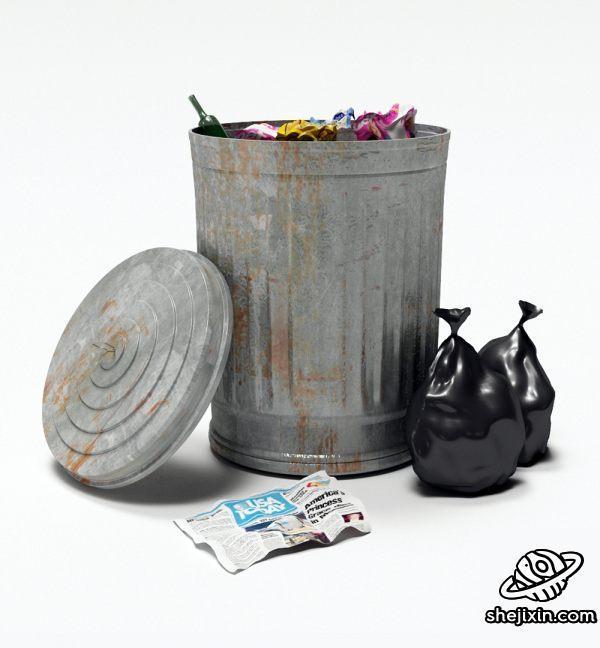 Dirty Recyclebin  垃圾桶模型 垃圾模型 废报纸 空酒瓶 max+fbx