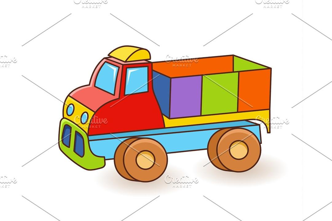 Toy Truck flash card. Kids Wall 玩具卡车矢量素材