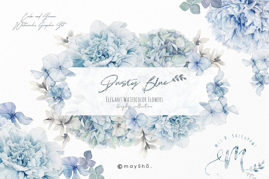 Dusty Blue Watercolor Flower Graphic 5373032 蓝色水彩花卉