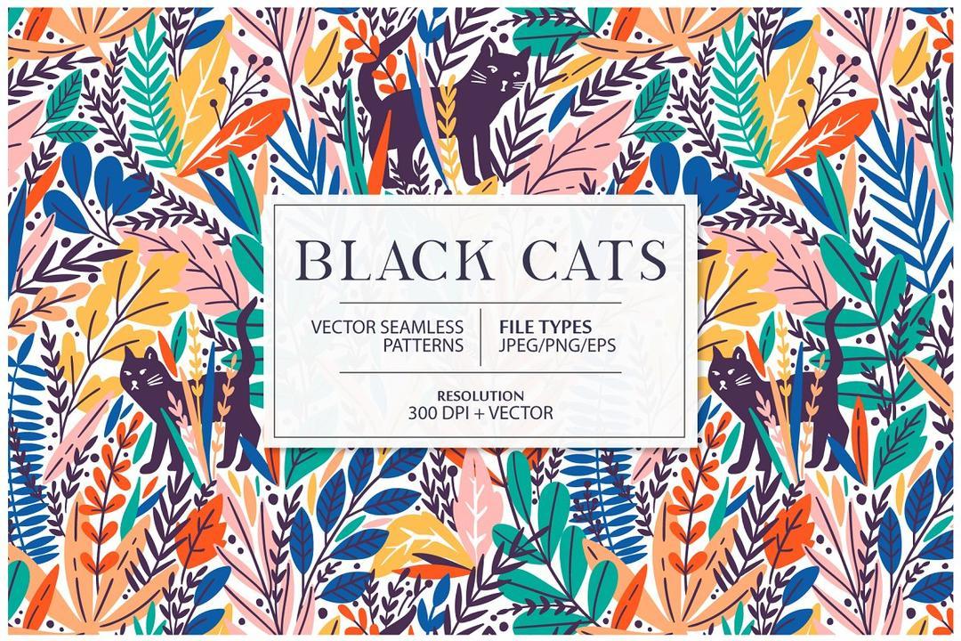 Black Cats seamless pattern 5199071 黑猫插画背景无缝纹理贴图 黑猫植物矢量插画