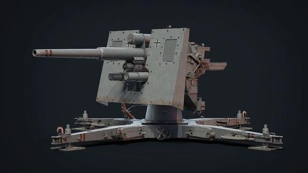 88毫米高射炮模型 88 Flak Cannon Gameready model PBR