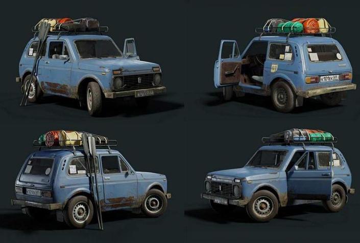 Niva Gameready PBR 次时代小旅行车 小型破旧越野车 破旧旅行车模型 破旧汽车模型 max+fbx+obj