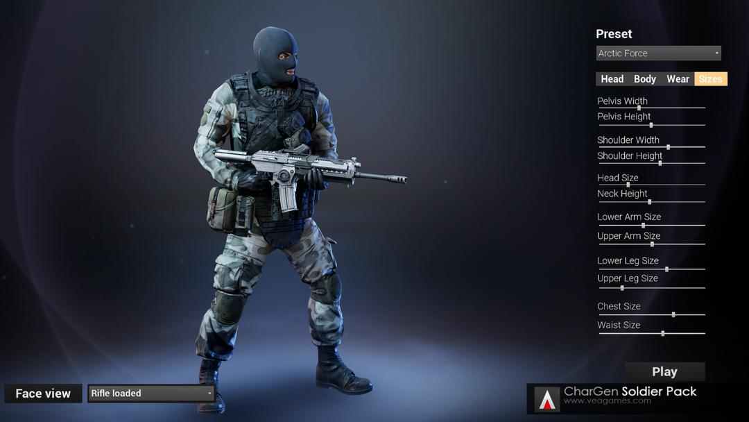 CharGen Enemy Soldiers Pack UE4士兵资源包 雇佣兵战士模型 军队士兵模型 特种兵模型 恐怖分子模型 反恐精英角色
