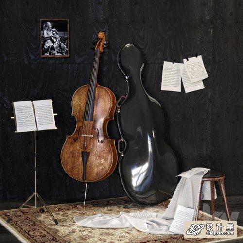 Music Set With Cello大提琴模型 乐器场景模型 音乐工作室模型 乐器排练室模型 小提琴工作室 乐器排练工作室 乐器室模型
