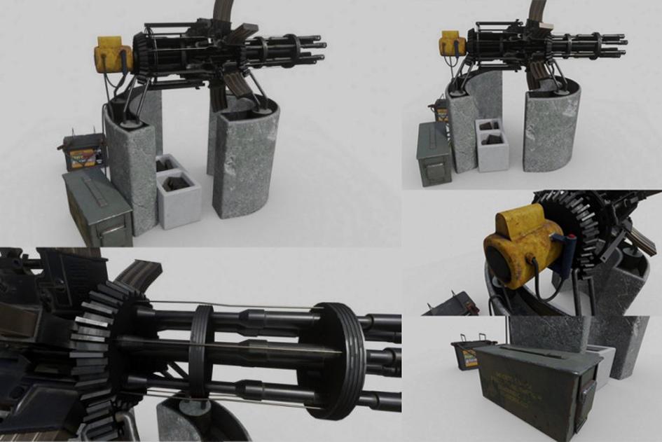 PBR废加特林机枪 Scrap Gatling Gun PBR 次时代加特林机枪模型