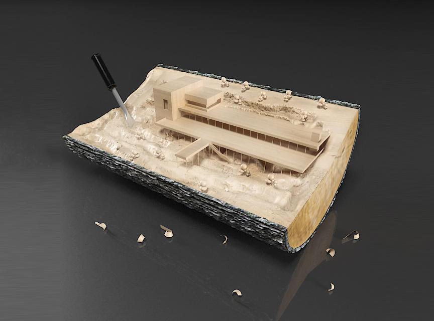 建筑设计沙盘模型 微缩建筑场景 沙盘模型 微缩景观建筑木雕 室外建筑沙盘 别墅建筑沙盘Decorative house carved from a log