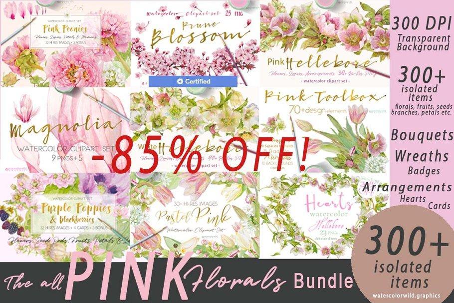 BUNDLE PINK FLOWERS-85% 4567135 水彩花卉素材包合集 粉色水彩花卉植物贴图