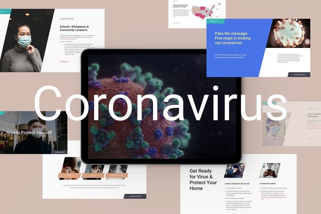 Coronavirus Covid 19 Presentation 冠状病毒PPT模版 冠状病毒Covid 19演示文稿
