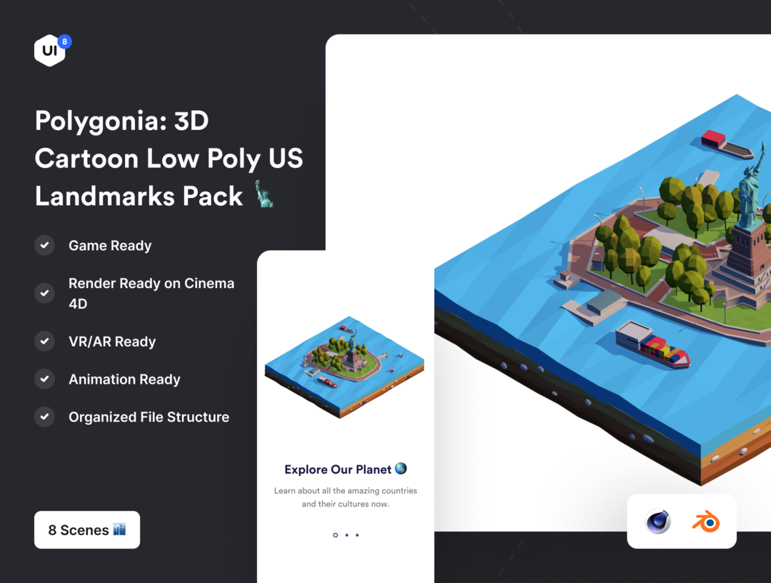 Polygonia: Low Poly US Landmarks Pack 低聚美国地标场景建筑模型 美国地标建筑模型
