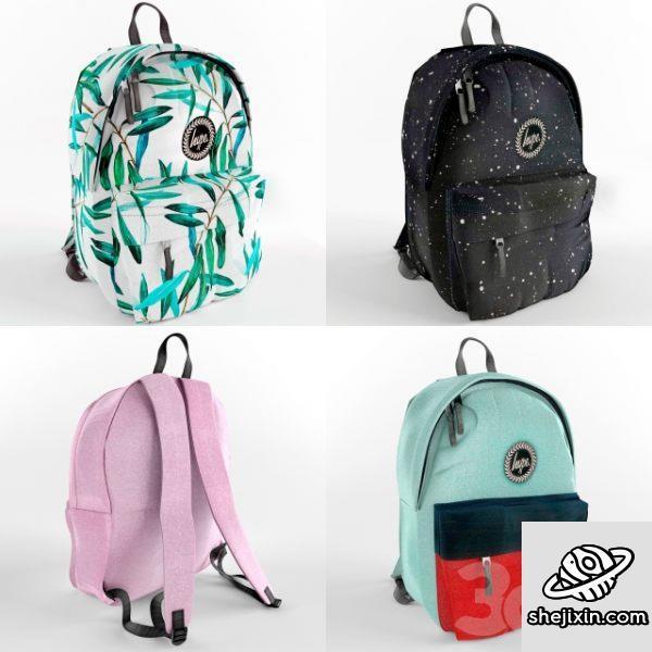 双肩背包 时尚书包 书包模型 旅行书包 高中生书包 小学生书包 双肩背包模型 Hype Backpack
