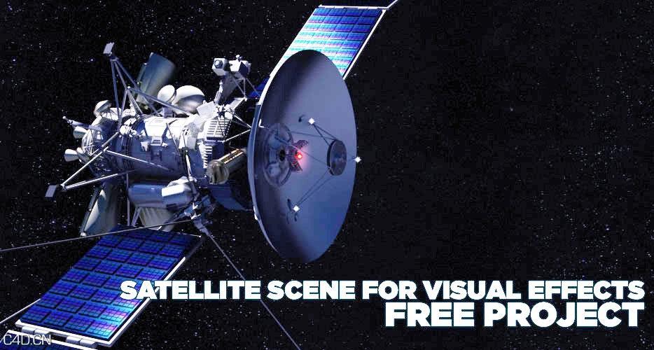 C4D太空卫星模型 SATELLITE SCENE FOR VISUAL EFFECTS-3D模型